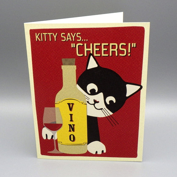 Birthday Card - Kitty Says Cheers