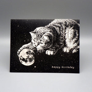 Birthday Card - Kitty Plays With Earth