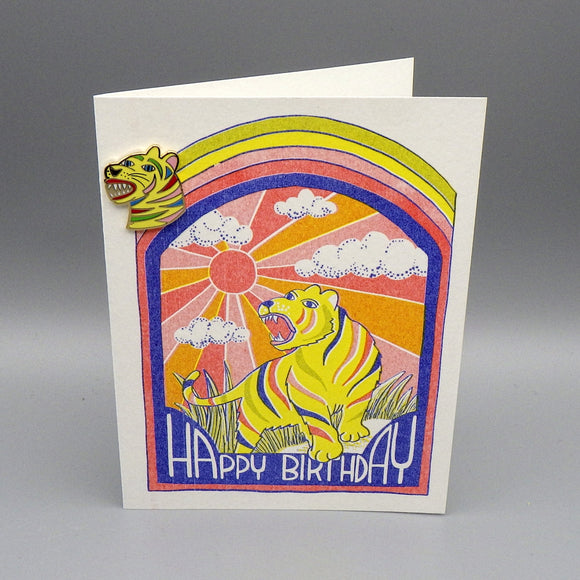 Birthday Card & Gold Gilt Lapel Pin - Tiger