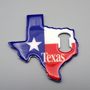 Bottle Opener & Magnet - Texas State, Red White & Blue