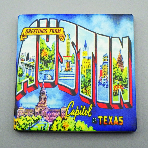 Ceramic Tile Coaster - Greetings From Austin Capitol of Texas Mural
