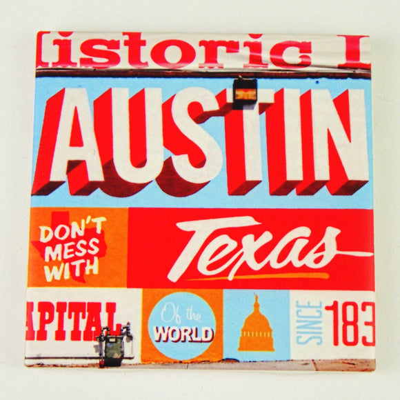 Ceramic Tile Coaster - Austin Live Music Capitol of the World