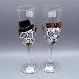 Hand Painted Champagne Toasting Glasses [Pair] - Frenzy