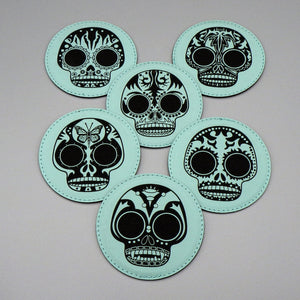 Leatherette Coasters - Mint Calaveras Set by Frenzy