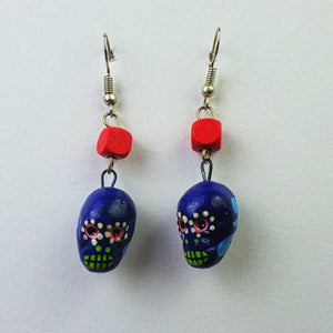 Earrings - Blue Skull by Mayan Expressions