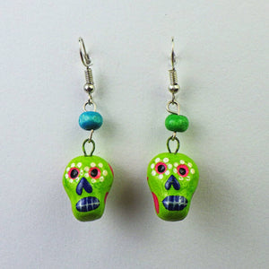 Earrings - Green Skull by Mayan Expressions