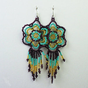 Earrings - Mayan Beaded Flower by Mayan Expressions