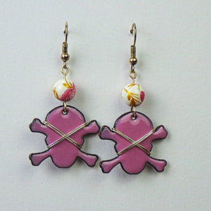 Earrings - Pink Skull & Crossbones by Copper Maiden Austin