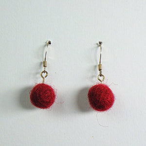 Earrings - Fuzzy Maroon by Copper Maiden Austin