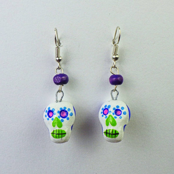 Earrings - White Skull by Mayan Expressions