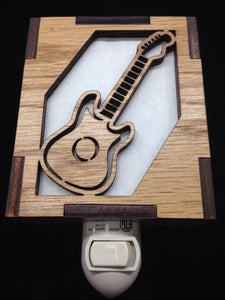 Wooden Laser Cut Night Light Guitar Design