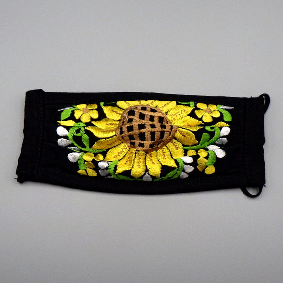 Embroidered Face Mask by Mayan Expressions [Sunflower on Black]
