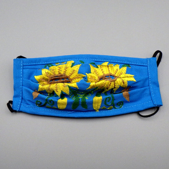 Embroidered Face Mask by Mayan Expressions [Sunflower on Blue]