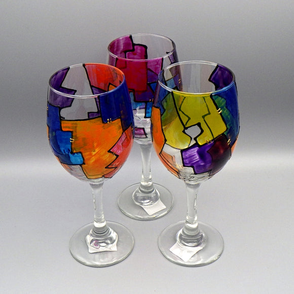 Hand Painted Wine Glass - Abstract by Frenzy