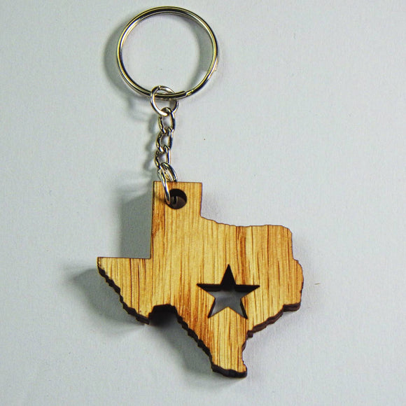 Wooden Keyring - Texas Star by Lazer Beam