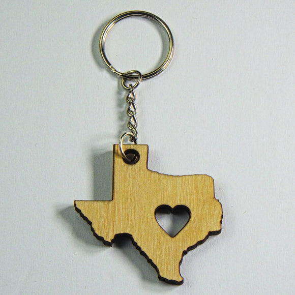 Wooden Keyring - Texas Heart by Lazer Beam