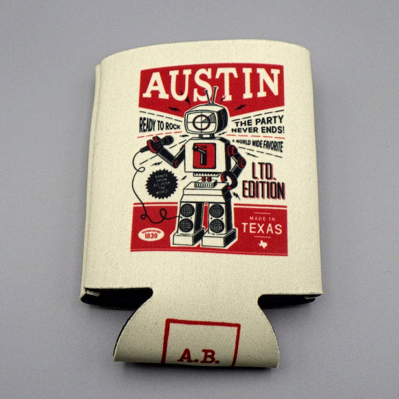 Collapsible Koozie - Austin Retro Robot