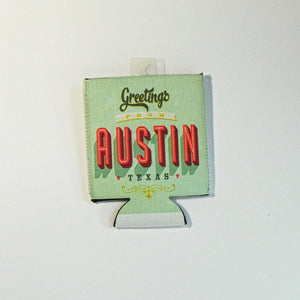 Koozie - Collapsible Greetings from Austin Texas