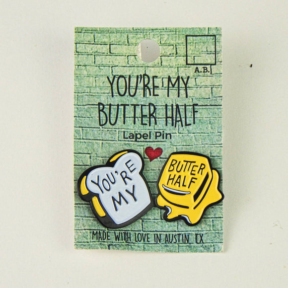 Enamel Lapel Pins (Pair) - You're My Butter Half