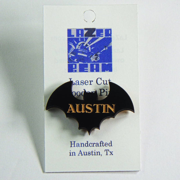 Wooden Lapel Pin - Austin Bat by Lazer Beam