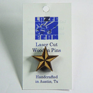 Wooden Lapel Pin - Lone Star by Lazer Beam