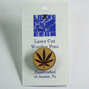 Wooden Lapel Pin - Weed by Lazer Beam