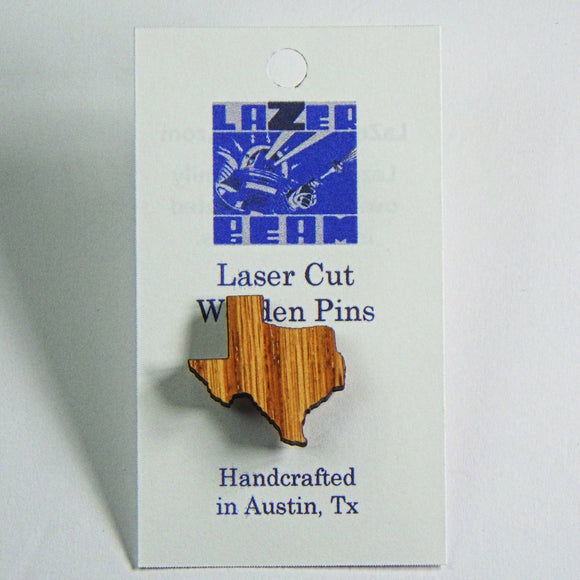 Wooden Lapel Pin - Texas by Lazer Beam
