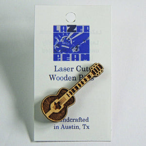 Wooden Lapel Pin - Texas Guitar by Lazer Beam