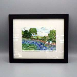 "Framed Print - Bluebonnets Along the Road by Connie Adcock (5"" x 7"")"