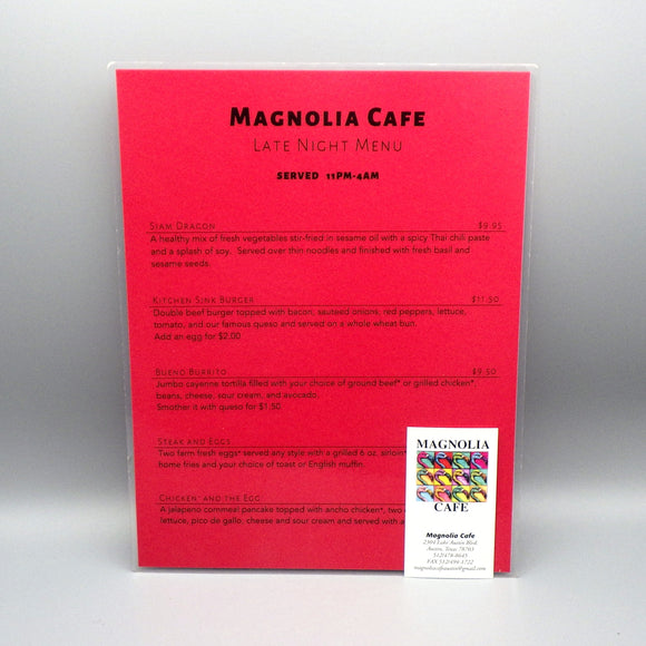 Souvenir Late Night Menu from Magnolia Cafe West
