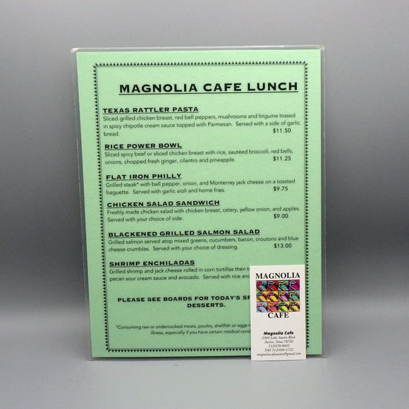 Souvenir Lunch Menu from Magnolia Cafe West
