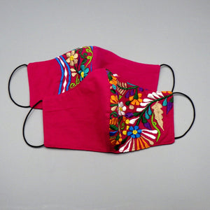 Embroidered Face Mask by Mayan Expressions [Pink]