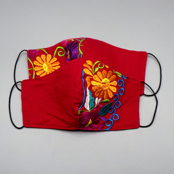 Embroidered Face Mask by Mayan Expressions [Red]