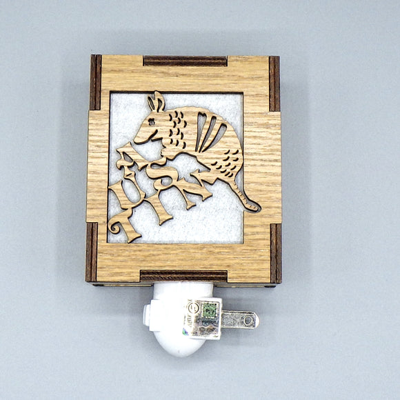 Wooden Night Light - Austin Armadillo by Lazer Beam