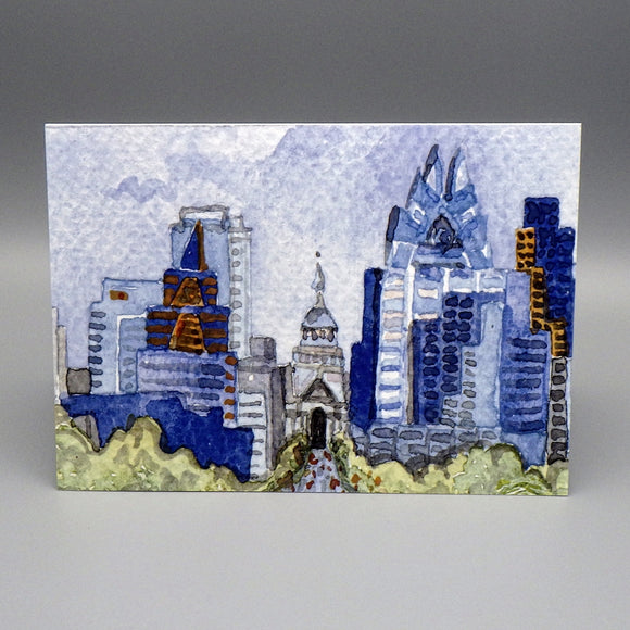 Notecard - Austin Skyline by Connie Adcock