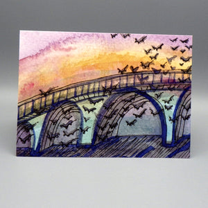 Notecard - Bats & Bridge by Connie Adcock