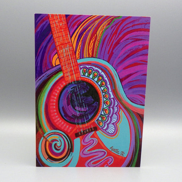 Notecard - Austin Guitar by Connie Adcock