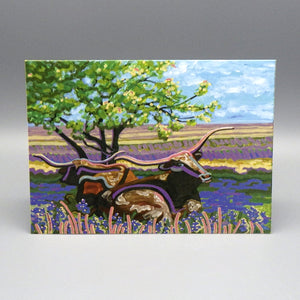 Notecard - Longhorns by Connie Adcock