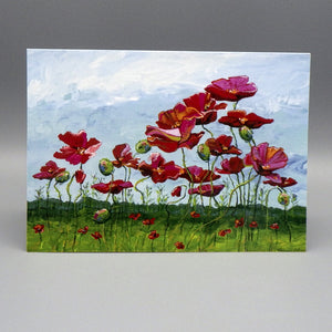 Notecard - Red Flowers by Connie Adcock