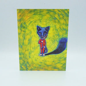 Notecard - Boy with Black Cat Mask