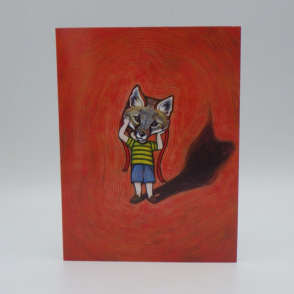 Notecard - Boy with Fox Mask by Eya Claire