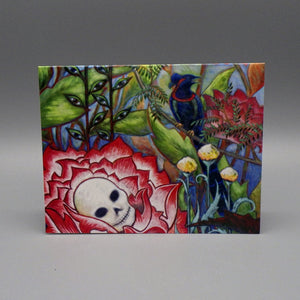 Notecard - Skull Flower on Bicycle by Eya Claire