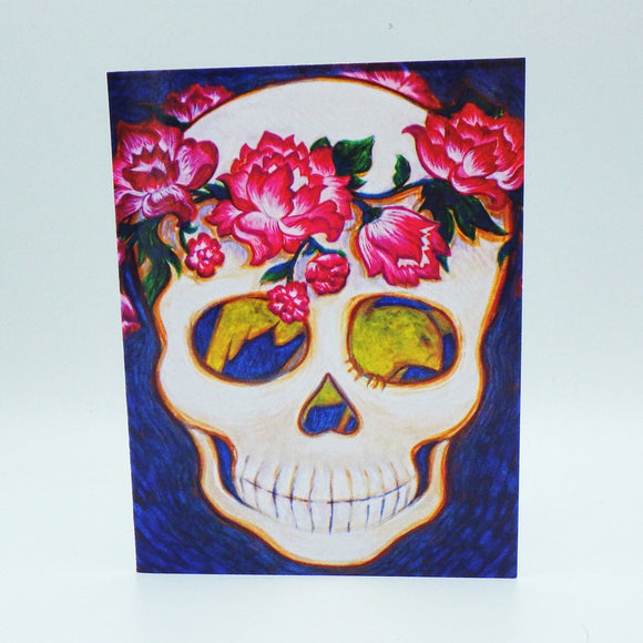 Notecard - Skull with Flowers by Eya Claire