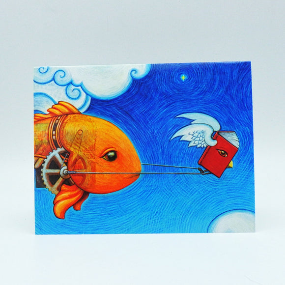 Notecard - Flying Storybook Pulling Mechanical Fish by Eya Claire