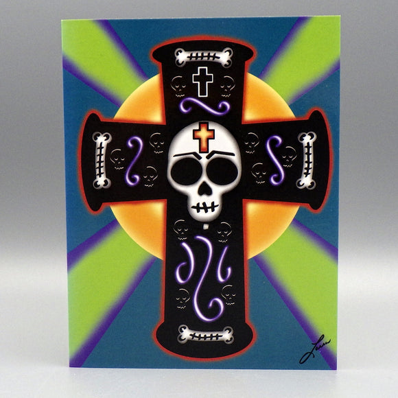 Notecard - El Crucifijo Negro by Frenzy Art