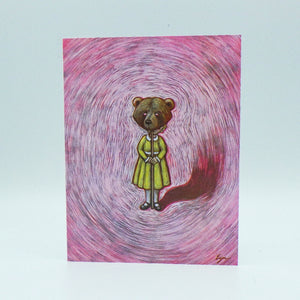 Notecard - Girl with Bear Mask by Eya Claire