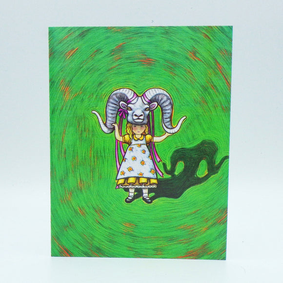 Notecard - Girl with Ram Mask by Eya Claire