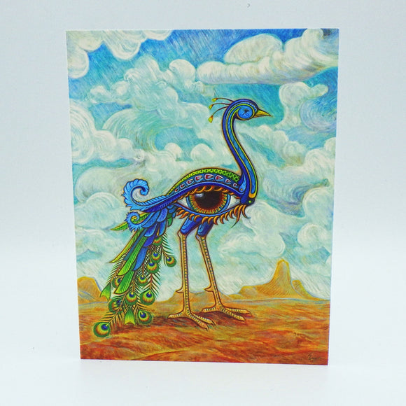 Notecard - Beautiful Peacock Eye Bird by Eya Claire