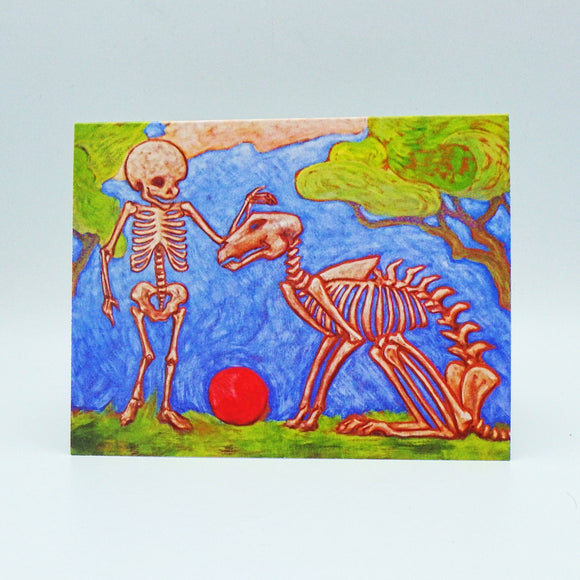 Notecard - Happy Skeleton Dog & Boy by Eya Claire