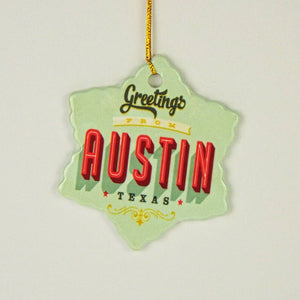 Ceramic Holiday Ornament - Greetings From Austin